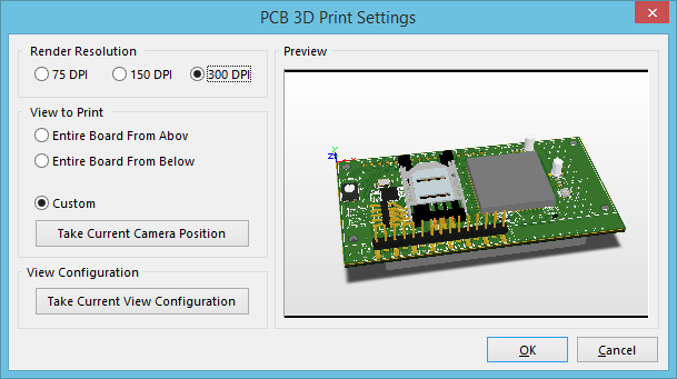 PCB 3D Print Settings | Online Documentation for Altium Products